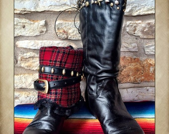 Reversible Black Leather and Plaid Tall Boots with Metal Studs, Lace and Belts size 6 1/2