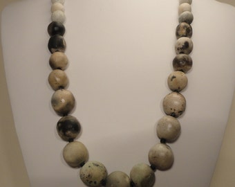 Gray Pit Fired Bead Necklace