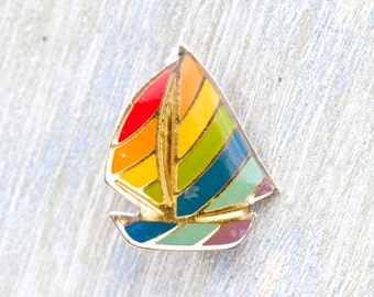 Rainbow Sailling Boat Brooch - Vintage Colorful Badge - Eighties fashion