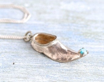 Arabian Nights Necklace - Sterling Silver Antique miniature Pointy Shoe Pendant on a Chain