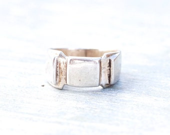 Chunky Signet Ring in Sterling Silver - Ring Size 7.5