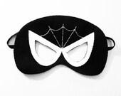 Spiderman black and white felt Mask, Superhero soft costume for boys girls,Halloween Dress Up play accessory