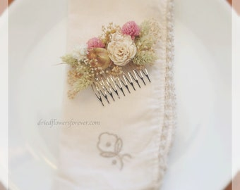 Vintage Wildflower Collection - Hair Comb -  Dried and Preserved Flowers - Bride Wedding Arrangement