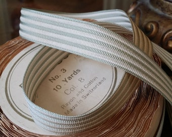 """5/8""""  Vintage Ribbon Trim: Swiss Rayon and Cotton Sage Green and Creamy off white woven striped"""