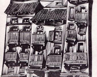 "Tranquillo Marangoni ""House"" Postcard -- 1967, Soviet Artist Publ."