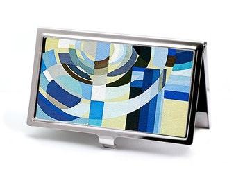 Business Card Case, Art Deco Blues Design, Credit Card Holder or Wallet