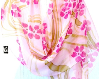 Silk Wrap Shawl Handpainted, Holiday gift for her, Japanese Pink Plum Blossoms Silk Shawl, Large Silk Scarf, Pink Silk Shawl, 22x90 inches.