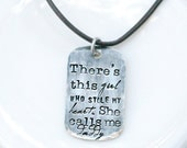 Personalized Men's Necklace - There's This Girl Who Stole My Heart - Daddy Necklace - Gift for Dad