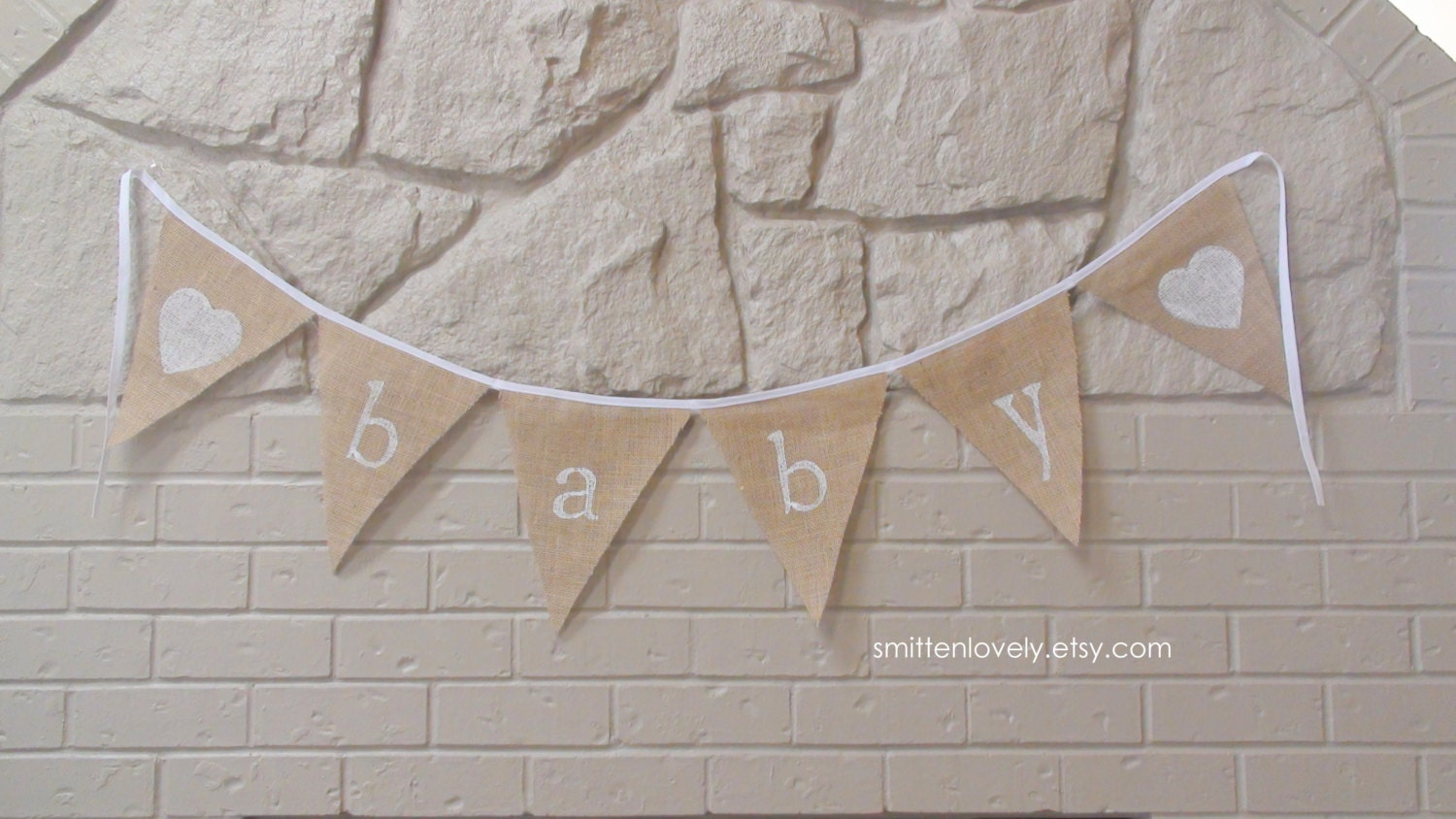 new baby burlap banner baby shower decorations by smittenlovely