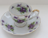Vintage Lefton Demitasse Cup and Saucer - Violets Purple Flowers Gold Trim - Entertaining - Fine China - Collectible - Mothers Day Gift
