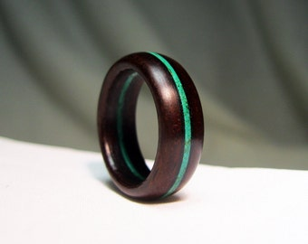 Wooden Ring - Custom Stained Wood Stripe