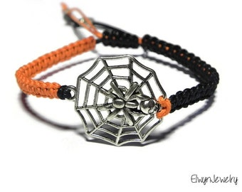 Spider Bracelet, Men's Bracelet, Boy Bracelet, Spider Web Bracelet, Cord Bracelet, Black Orange Bracelet, Gift For Him, Mens Jewelry,