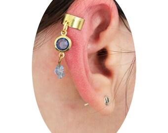 Blue gold ear cuff, Blue rhinestone ear cuff, Dangling ear cuff, No piercing ear cuff, Cartilage earring, cartilage ear cuff, Cute ear cuff