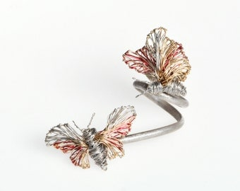 Butterfly ring Fine ring Silver gold ring Unusual ring Double ring Statement ring Unique ring for her Butterflyjewelry Wedding set Wire ring