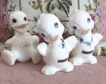 DeLee Art Pottery Duckling Trio - 40s Ceramic Ducks