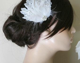 Bridal Fascinator, White Feather Fascinator,Bridal Hairpiece, Head Piece, Wedding Hair Accessories, Wedding Hair Piece Art Deco Fascinator
