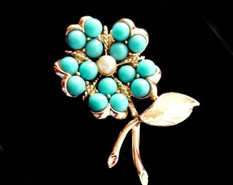 Turquoise Flower Brooch with Pearl by Sarah Coventry Retro