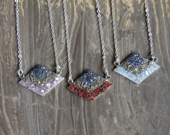 Crushed Crystal Druzy Layered Chevron Necklace - SILVER