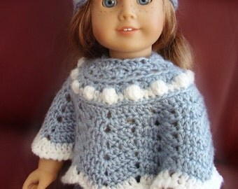 """18 Inch Doll Clothes, Poncho and Hat Set, Light Blue with """"Snowball"""" Trim, Hand Crocheted, Made to Fit American Girl or Other 18 Inch  Dolls"""