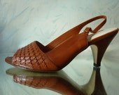 SALE--20% OFF Listing Price--Vintage 70s Havanna Nights Brown Leather Heels size 7.5M size 38