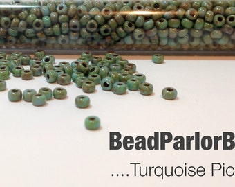 Turquoise Picasso Glass Seed Beads - BP-4514 - Size 8/0 - 28 grams