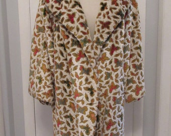 Vintage 1950s Chenille Carpet Coat Swing Style 3-Quarter Sleeves Size Large