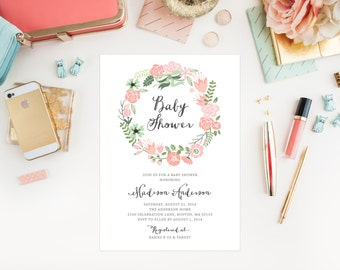 Floral Wreath Baby Shower Invitation