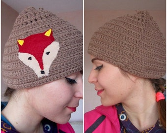 Large Brown  Hat,Crochet Beanie,Winter fox hat  for women and for men, Fox hat, adult fox hat, animal hat, valentines day gift,