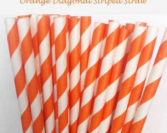 Orange Striped Paper Straws (S04) with free printable DIY Toppers - Pack of 25 or 50 Straws