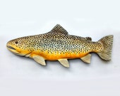 30 in. Brown Trout wood Carving, fishing sculpture,  Christmas gift, Trout wood carving, Fly fishing art, fly fishing sculpture, fish decor