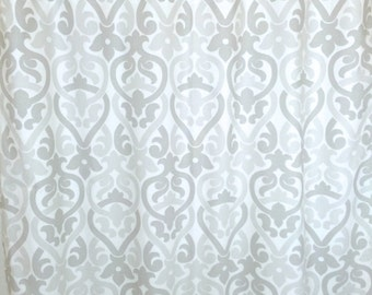 French Grey Alex Floral Curtains. Window Drapes. All Sizes. Modern Curtains. Drapery. Light Gray