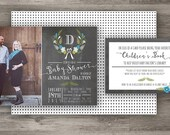 Rustic Chalkboard Baby Shower Invitation + Registry Card Insert, Printable Baby Shower Invitation
