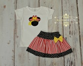 Pirate Minnie Mouse Shirt and Skirt Set - Pirate Minnie Mouse Outfit - Minnie Mouse Birthday outfit