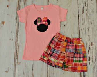 Girls Plaid Minnie Mouse Outfit - Minnie Birthday Outfit - Disnet Trip Outfit - Pink Minnie Mouse Outfit