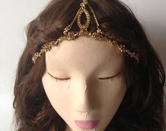 COACHELLA SALE Gold Oval Chain Pattern Crystal Gypsy Crown