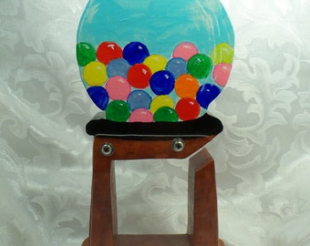 Gumball Brightly colored Wooden Coin Bank - Free personalization
