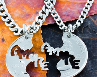 Amore Necklaces, Love in Italian, set that fits together, Hand Cut Coin