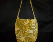 Vintage 70s Golden Brown Floral Velvet Purse Shoulder Handbag Hippie Boho Tote