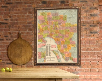 """Map of Melbourne  -  Old city map print - Melbourne and Suburbs  archival print  - Up to 33 x 43.5"""""""