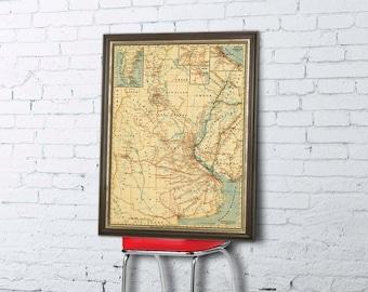 La Plata map -   Vintage map  - Argentina, Uruguay, Paraguay map