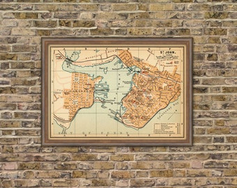Map of Saint John -   Vintage map of St. John   archival print  - 16 x 23""