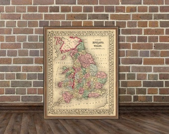 Vintage map of England and Wales - Historic map - Archival reproduction - England map - Wales map