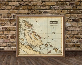 Bahamas map - Antique map of Bahamas -  Old map  fine reproduction
