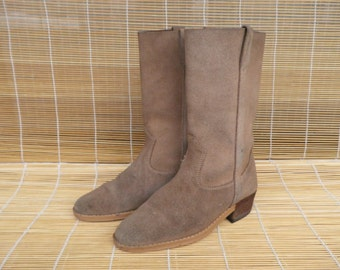 Vintage Lady's Tan Brown Suede Cow Girl Boots Size EUR 38 - 39 / US Woman 8 - 8 1/2