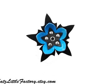 Medium Spiky Bright Blue Cyan and Black Cyber Flower PVC hair clip