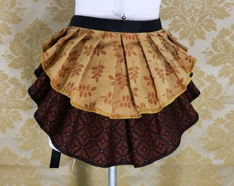 "ON SALE!  New Longer Pattern 2 Tier Bustle Belt Overskirt - Sz. XS/S - Russet, Black, & Tan - Fits up to 44"" Waist"