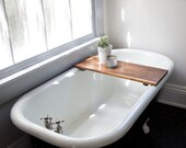 Modern Bathtub Tray Caddy - Wooden Bath Tub Caddy Smooth Natural Walnut Bath Shelf Computer Desk Gaming Board Clawfoot Tub Tray Handmade