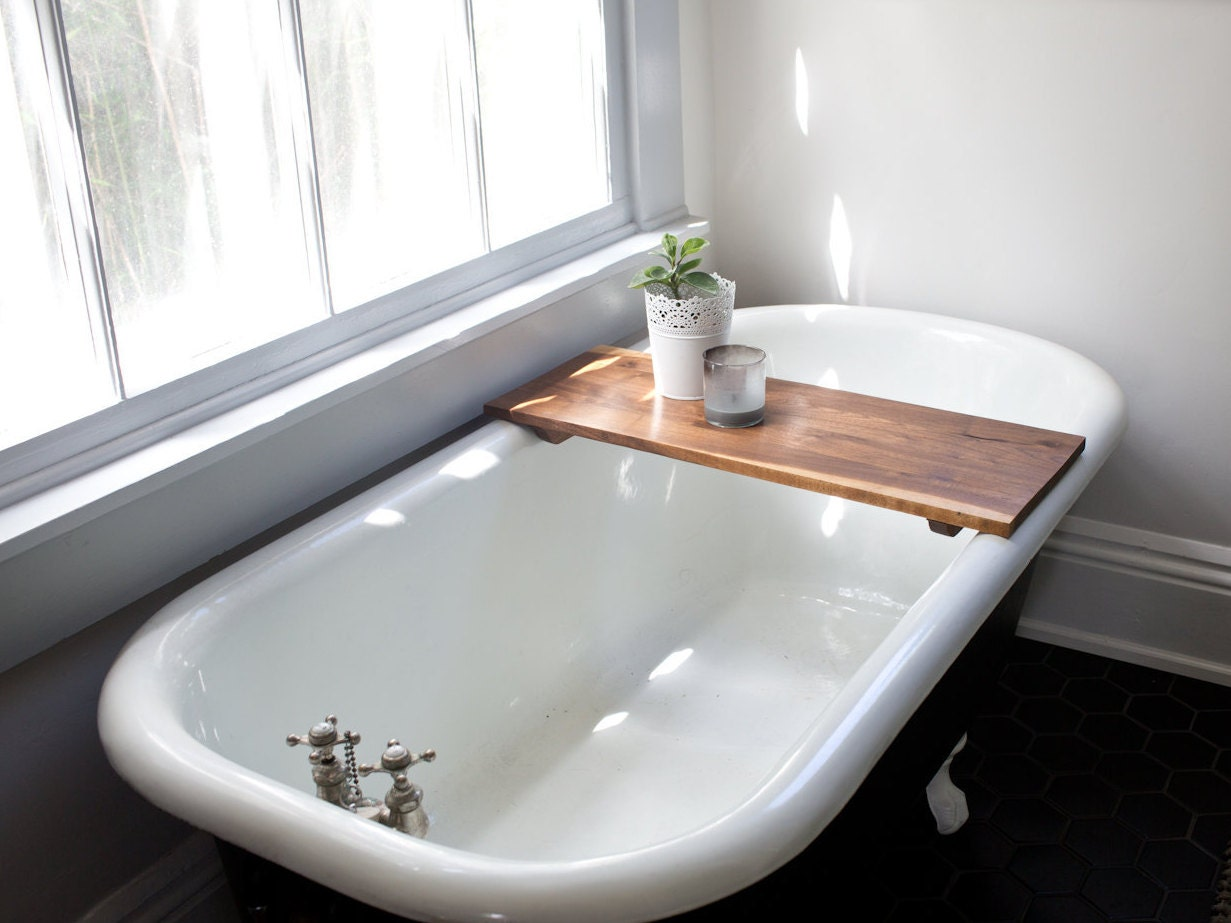 Modern bathtub tray caddy wooden bath tub caddy smooth for Modern claw foot tub