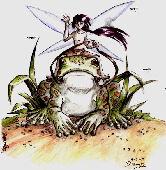 Frog Rider, Original Fantasy Art, Limited Giclee Print, ACEO Artist Trading Card