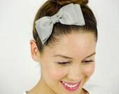 Grey Hair Bow Headband stretchy Headband Grey Bow Headband Dolly Bow Big Hair Bow Women Headband Grey headband Gray Grosgrain Ribbon bow